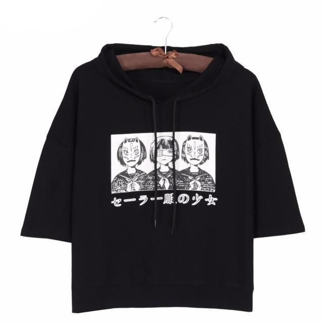 0dadc981838fb Harajuku Style Women Short Sleeve Crop Top Hoodie Japanese Fox Mask    Eyepatch Anime Girl