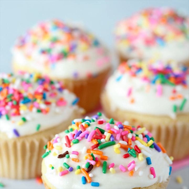 An easy and delicious small batch recipe for FIVE fluffy and moist Vanilla Cupcakes!