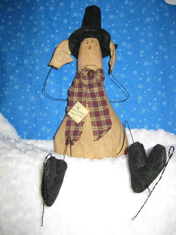 Primitive Snowman Skater Doll - Grungy - Fabric - Stuffed - Winter <3