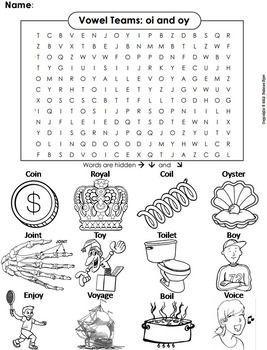 Oi Oy Vowel Team Activity Phonics Worksheet Digraphs Word Search Vowel Team Vowel Teams Activities Phonics Words