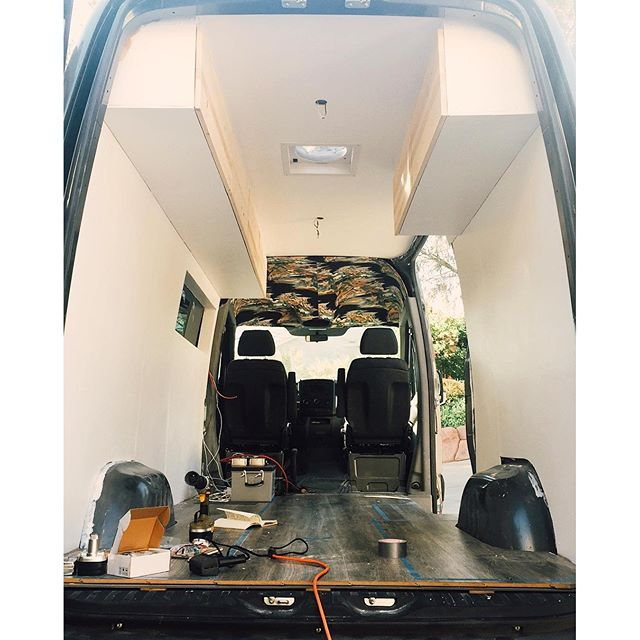 Progress Of Our Sprinter Van Conversion DIY Walls Cabinets And Floors Are In