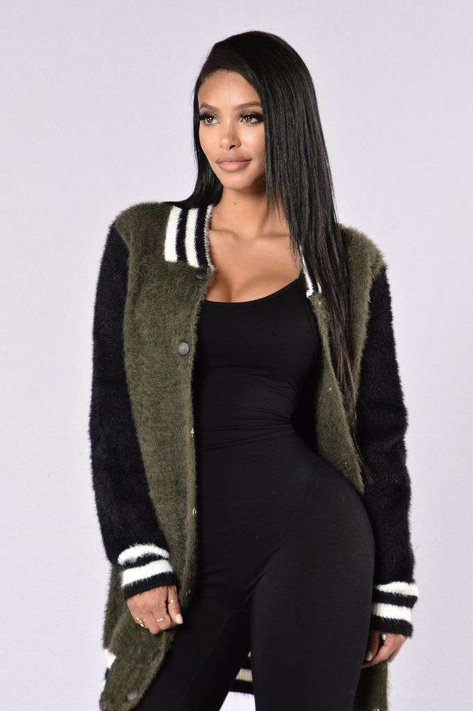 - Available in Olive - Long Jacket - Fuzzy Material - Snap Button Front - Side Pockets - Long Sleeve - Striped Trim - 80% Nylon 20% Acrylic