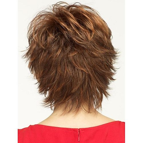 natural light brown straight short wig for woman f