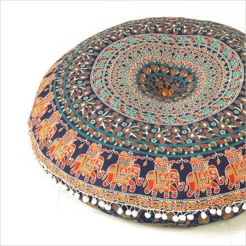 Round Pillow Cushion Cover Seating Floor Throw | Bean bags, Indian ...
