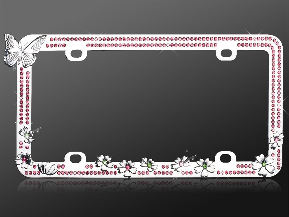 Rhinestone License Plate Frame Butterfly Pink Cute