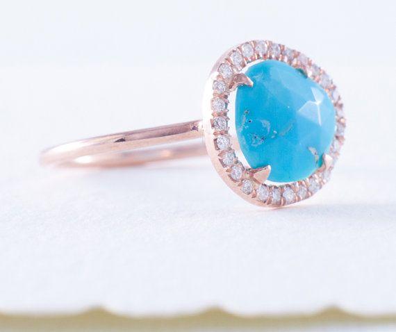 Turquoise Ring Rose Gold Ring Rose Cut Turquoise Ring Engagement