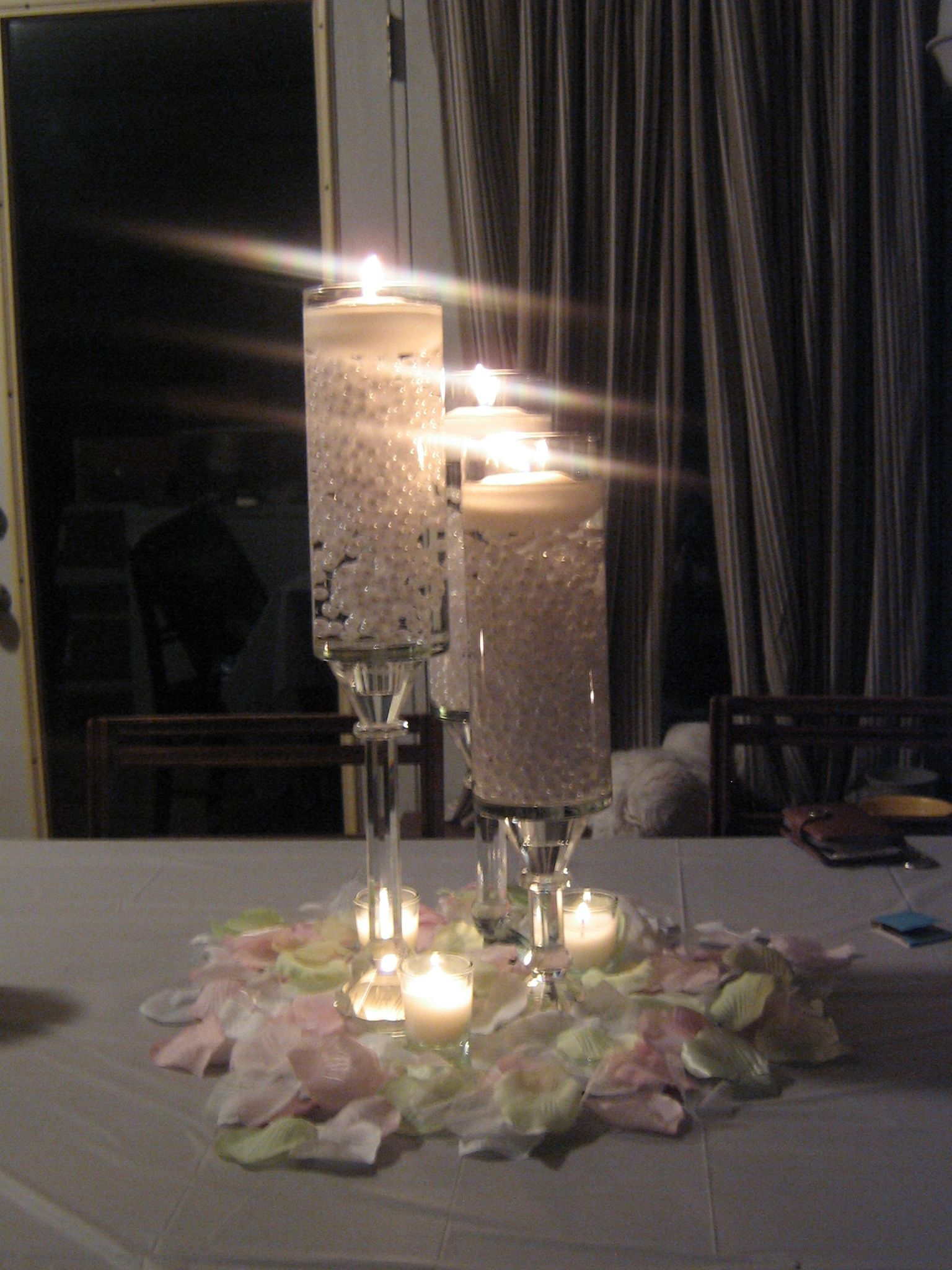 Elegant Diy Pearl And Candle Centerpieces Candle Wedding