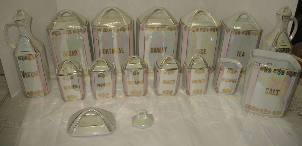 28 pc vtg iridescent gold porcelain canister spice sugar