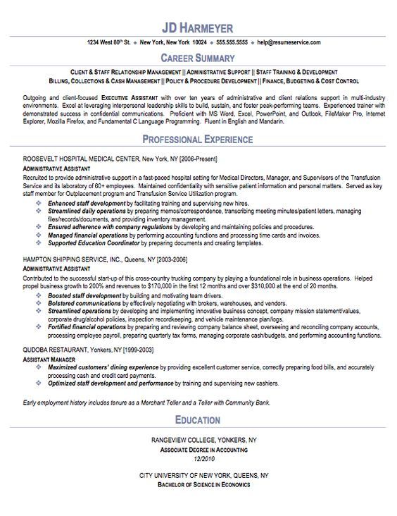 administrative-assistant-resume abs Pinterest - executive assistant summary of qualifications