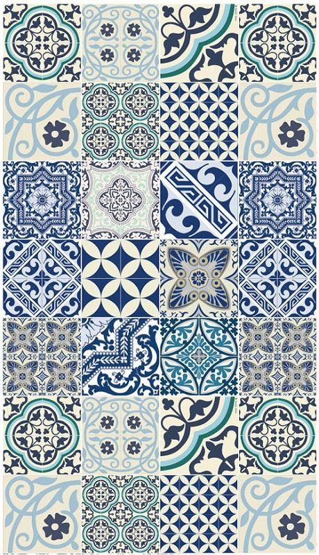Eclectic Blue Delft Tile Style Large Floor Mat 28 By 48in