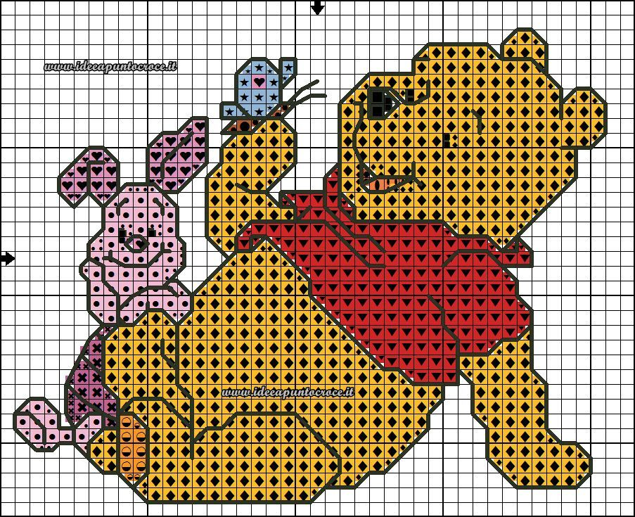 Poeh beer poeh beer en zijn vriedjes pinterest for Winnie the pooh punto croce schemi