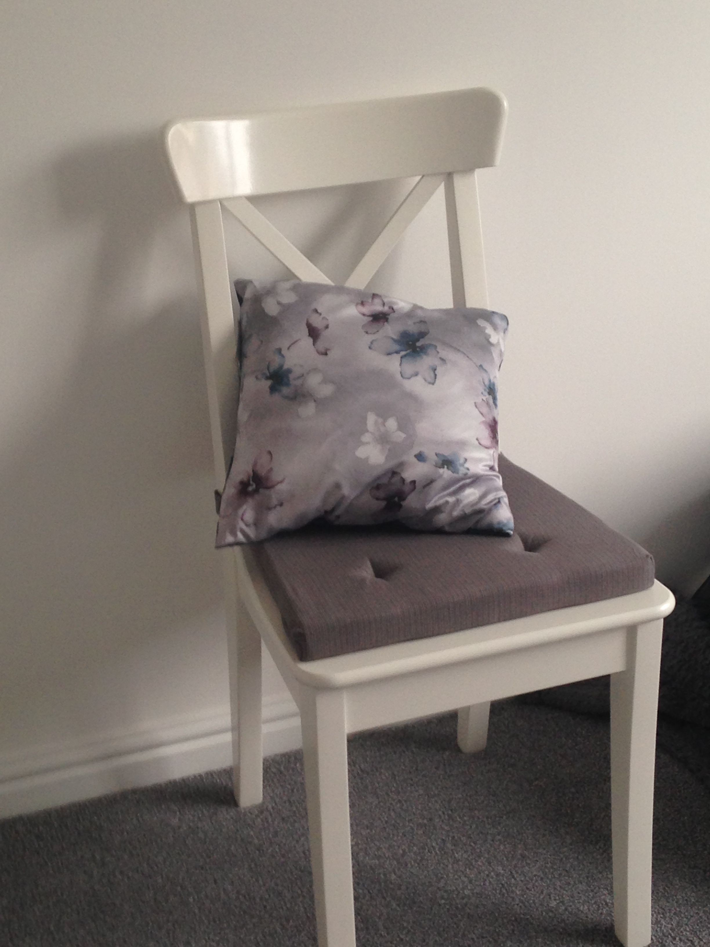 Ikea white chair with grey seat pad Ikea white chair