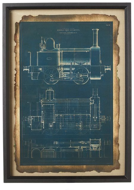 Train blueprint framed wall art framed wall art and products train blueprint framed wall art malvernweather Image collections