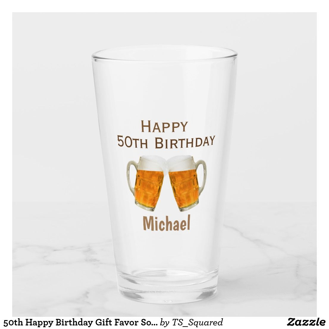 50th Birthday Gift Favor Beer Pint Glass