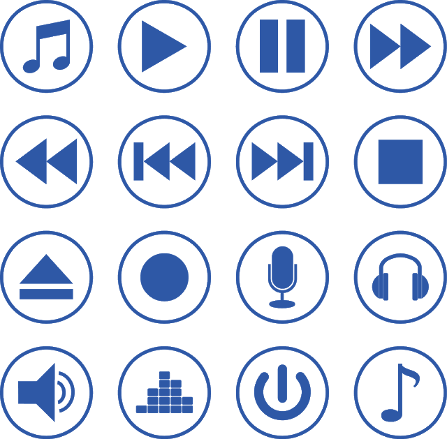 Multimedia Media Player Video Web Movie Vector Button Interface Play Music Pause Audio Volume Sound Control Desig In 2020 Vector Vector Logo Music Logo