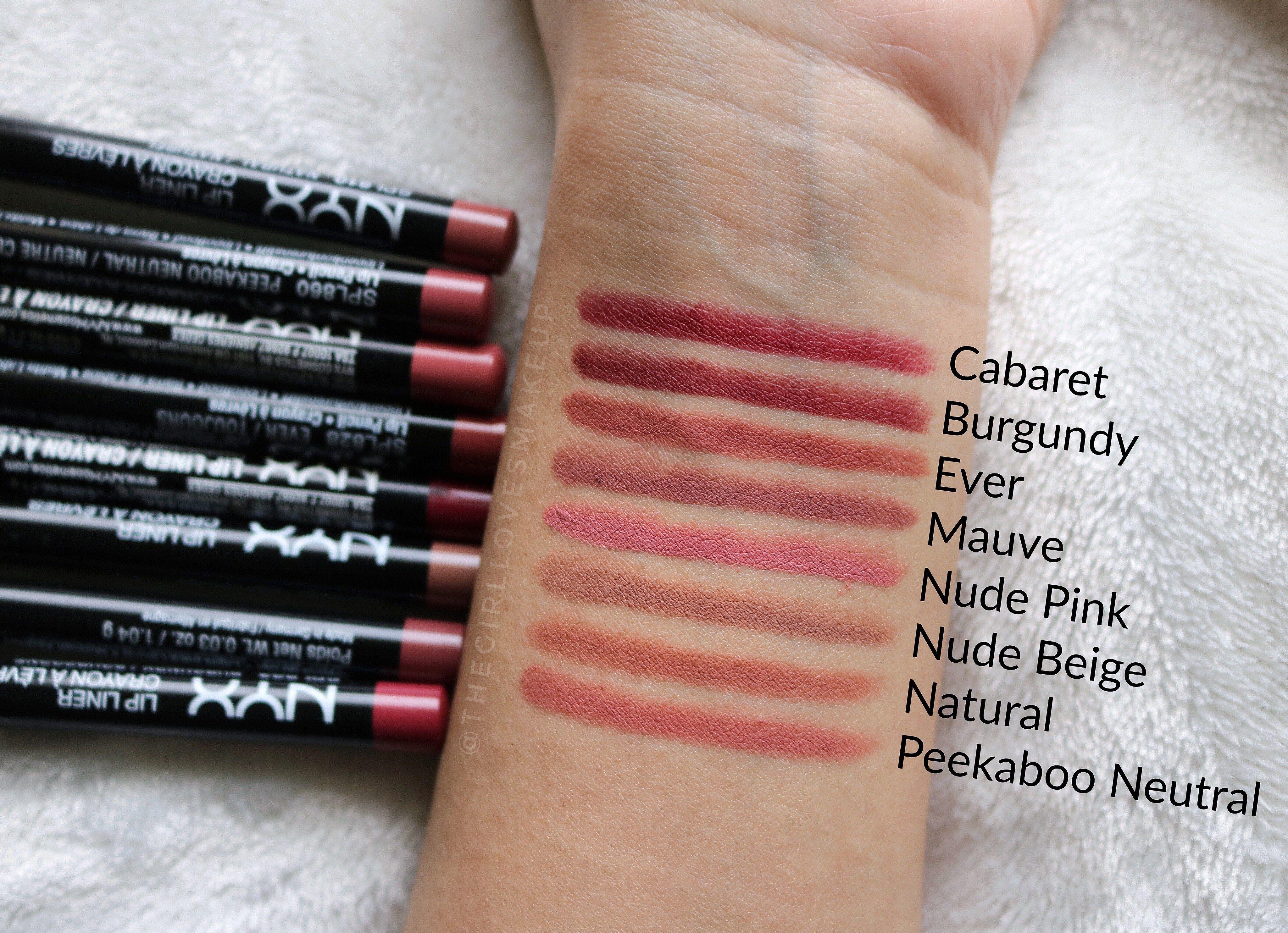 NYX lip liner - swatches | Direita p/ esquerda: Nude