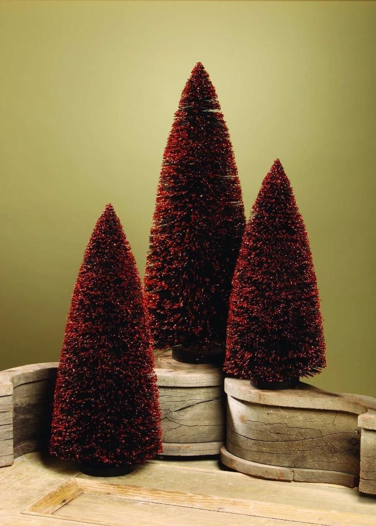 Bethany Lowe Halloween Black Bottle Brush XL Sz Trees, Set of 3, 17 - lowes halloween
