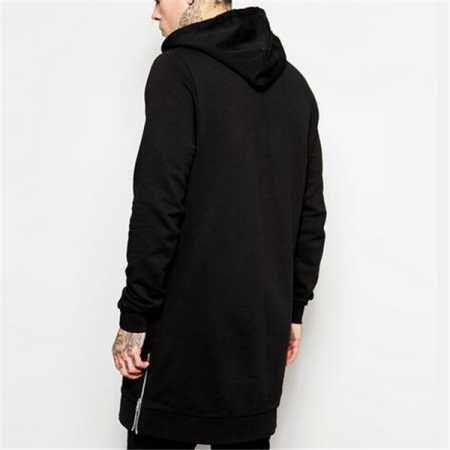 c17a61365 Plain black hoodie with side zipper for men fleece hip hop long sweatshirts