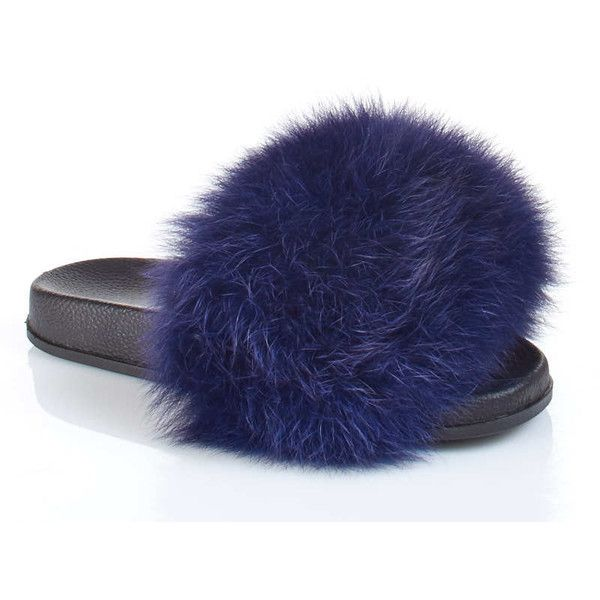 frr navy blue fox fur slides 100 liked on polyvore featuring