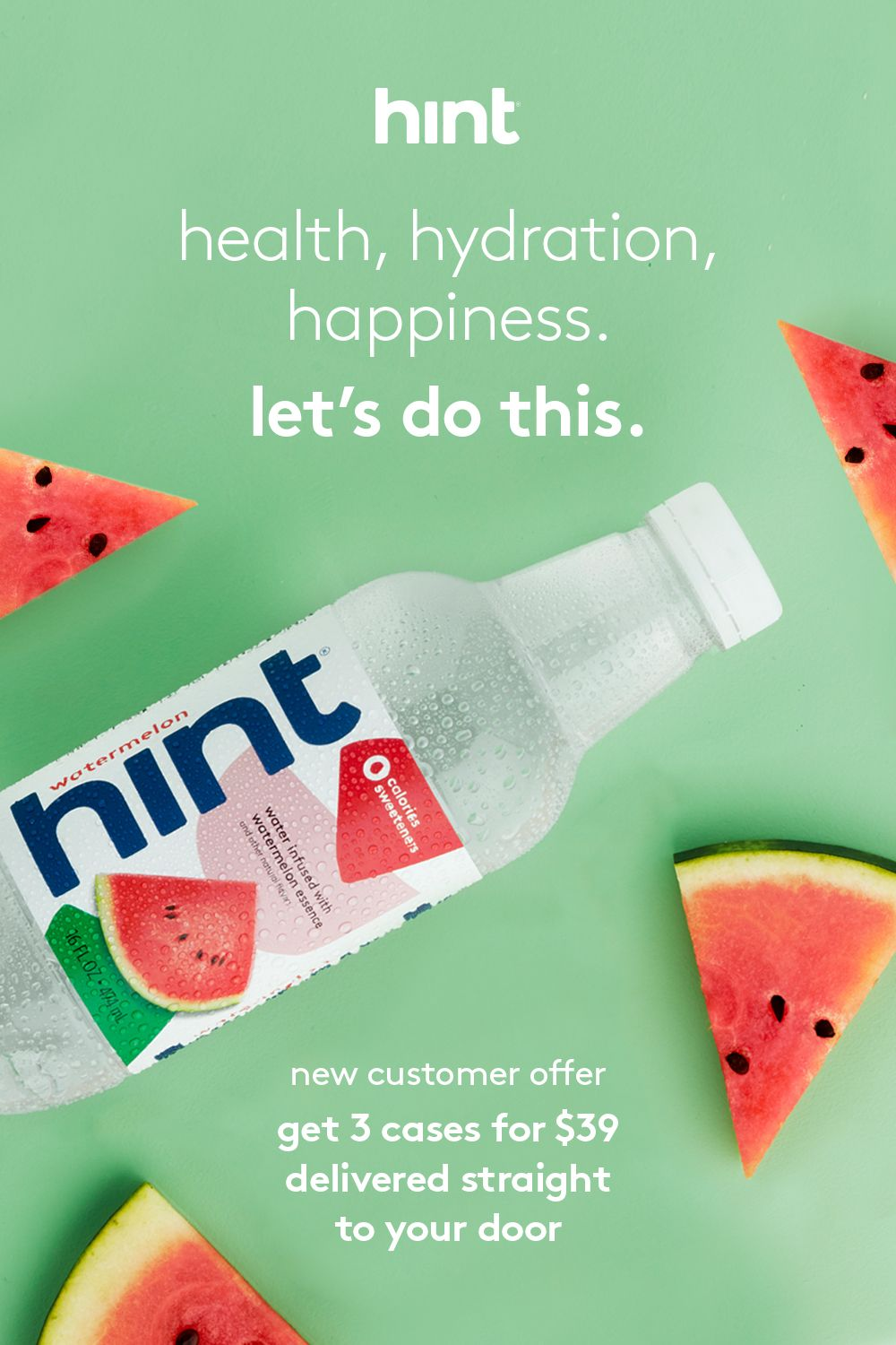 Hint water contains only water and delicious fruit flavors