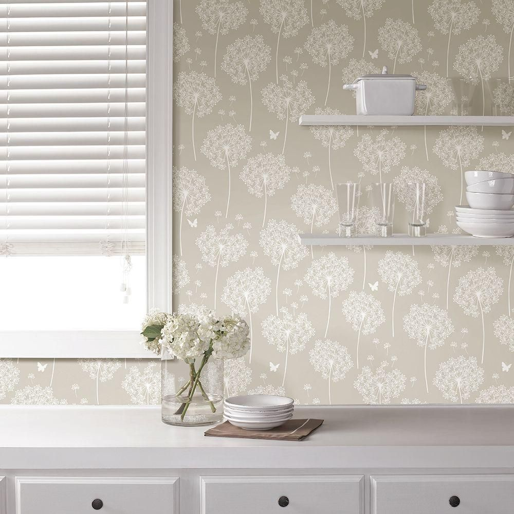 Taupe Dandelion Peel And Stick Wallpaper Neutral Nuwallpaper Trellis Wallpaper Peel And Stick Wallpaper