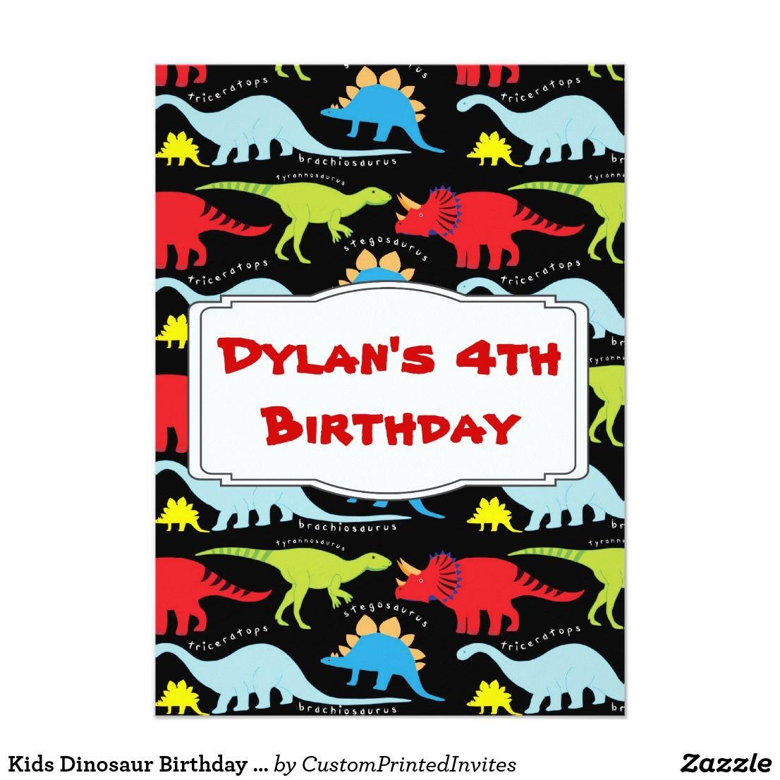 Kids Dinosaur Birthday Party Invitations   Kids dinosaurs, Dinosaur ...