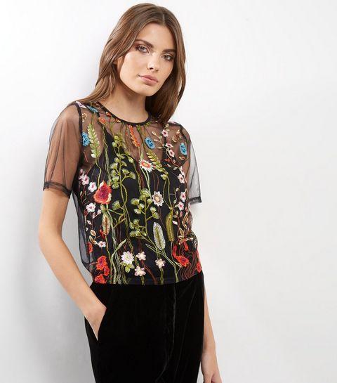 f4f7daf91 Cameo Rose Black Sheer Floral Embroidered Top | Vegetal Mode Fashion ...