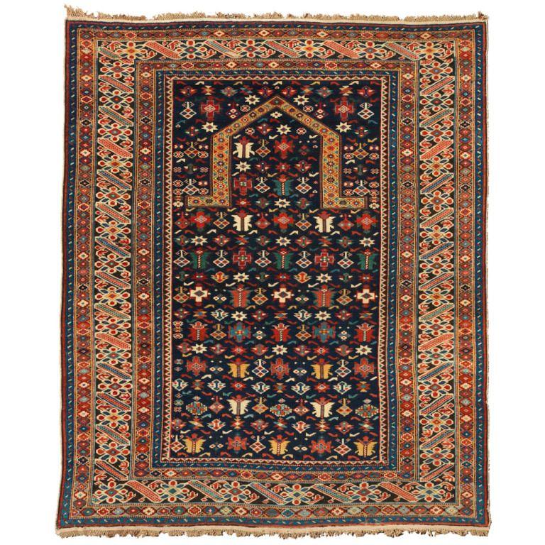 Caucasian Kilim Rug: 19th Century Caucasian Chi Chi Prayer Rug With Deep Indigo