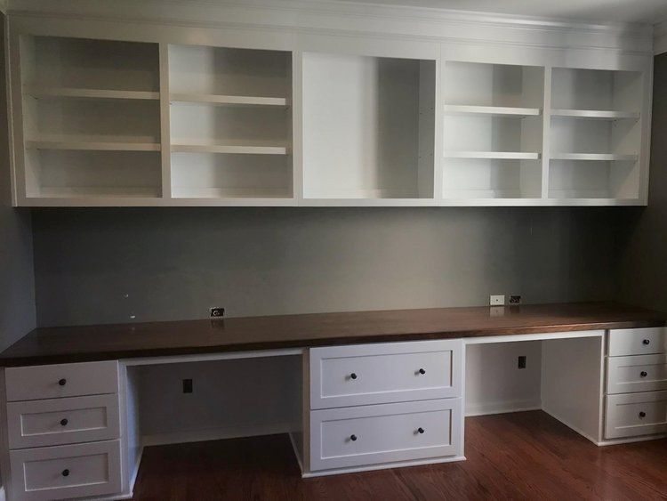 Custom Built In Desk With Walnut Countertop Filing Drawers Amp