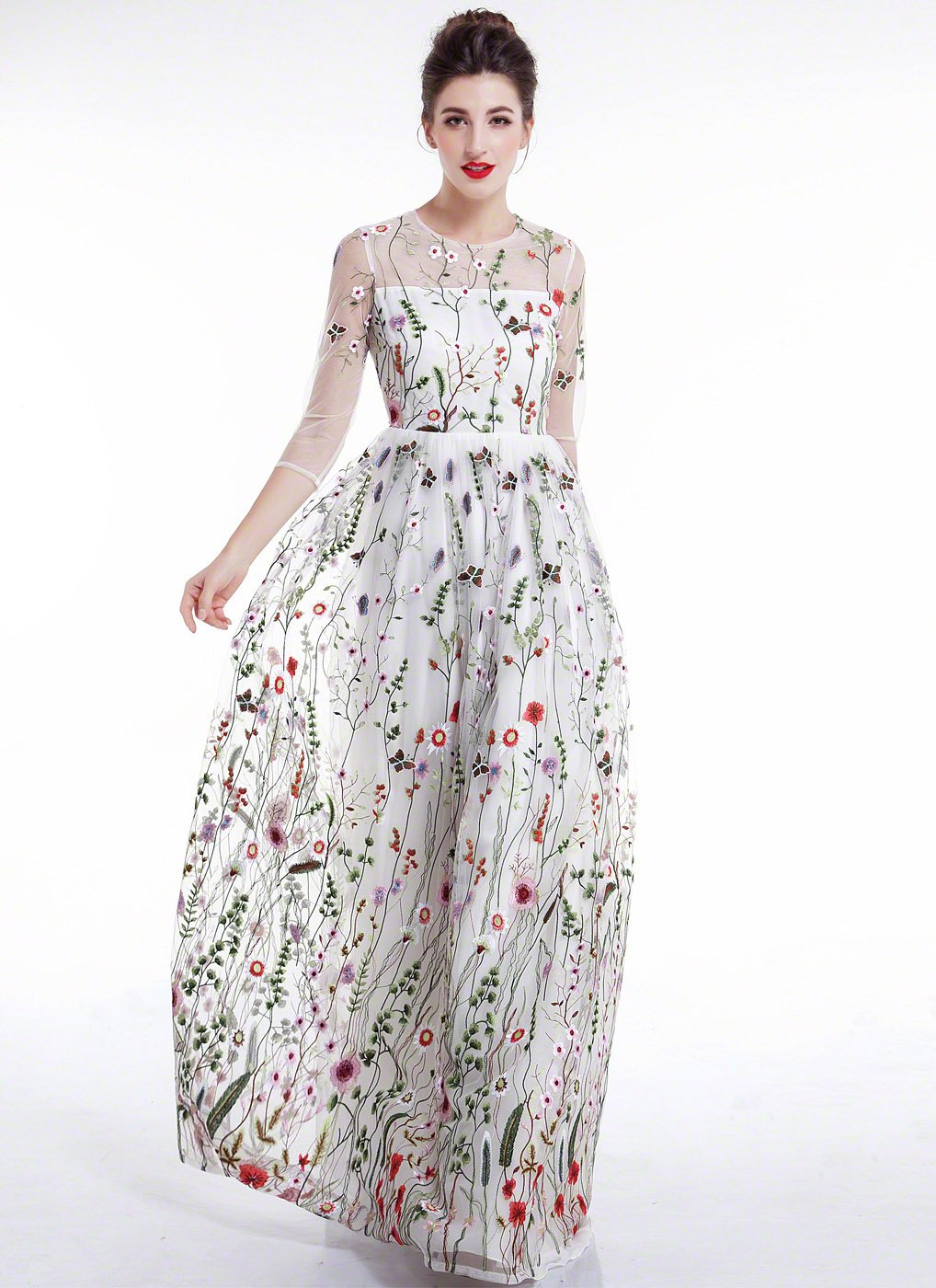 9548b2e7570 White Tulle Colorful Floral Embroidery Whimsical Maxi Evening Dress with  Sheer 3 4 Sleeves Black