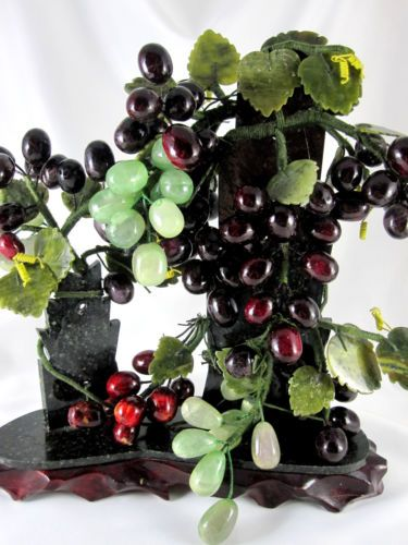 Grape Clusters Stone Carved Leaves Arrangement Granite Wood Base