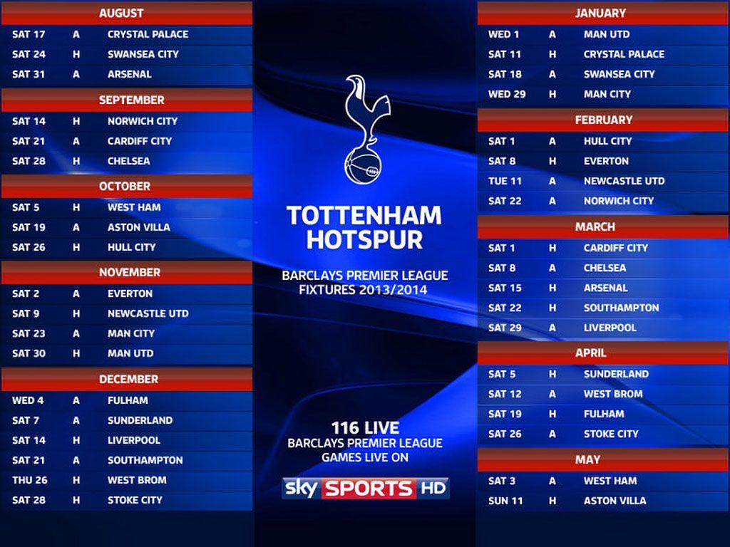 Man City Fixtures: Premier League Fixtures Tottenham Hotspur 2013/14