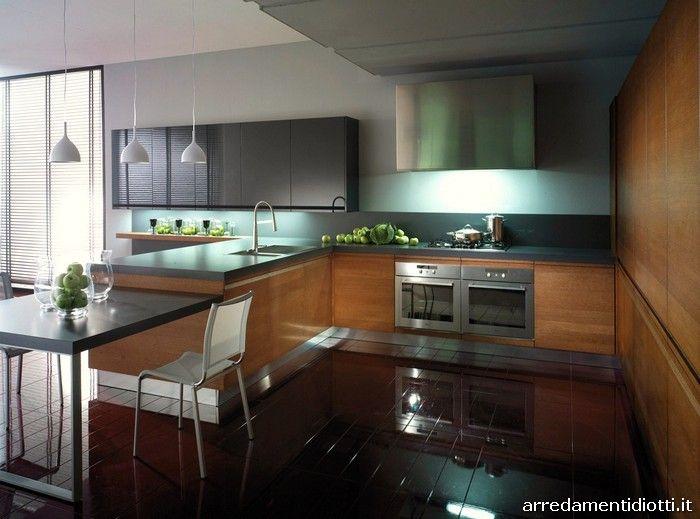 Cucina Zerocinque in rovere tabacco e laccata grigio lucido ...