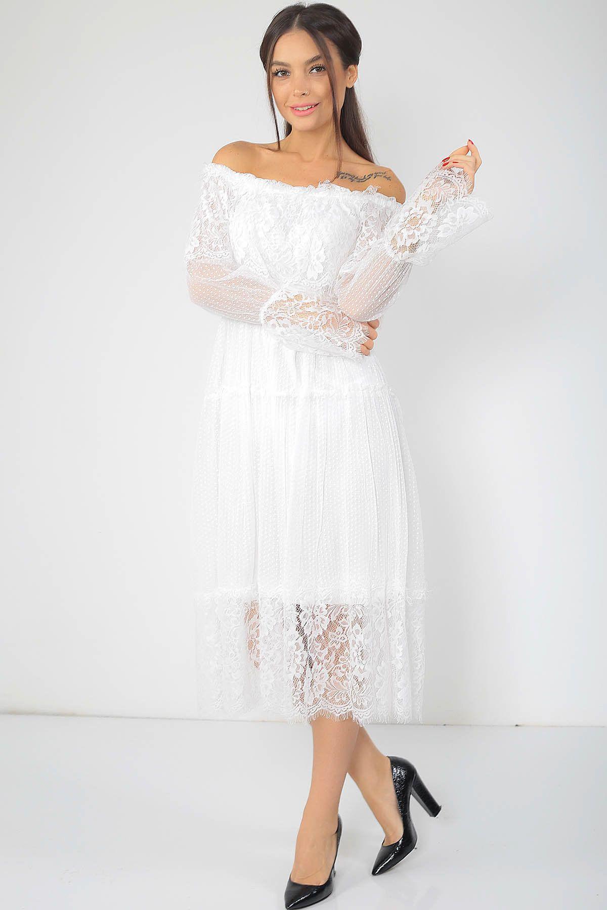 Kadin Beyaz Madonna Yaka Dantel Elbise S 18k2090009 Size Ozel Saygi Trendyol Dantel Elbise Elbise Kadin