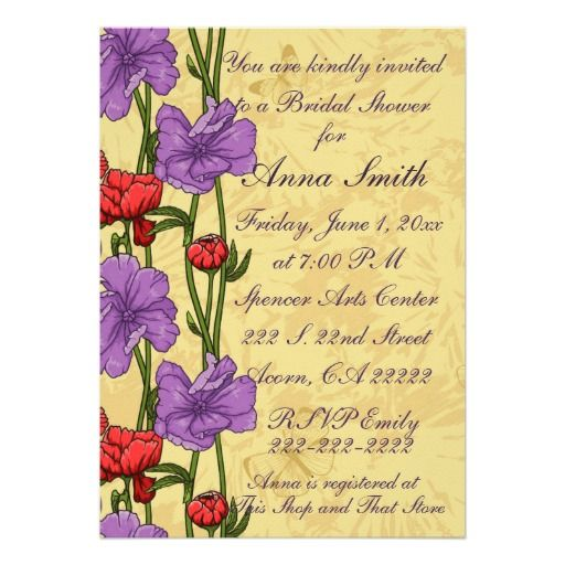 "Red Purple Floral Design Bridal Shower Invitation 5"" X 7"" Invitation Card"