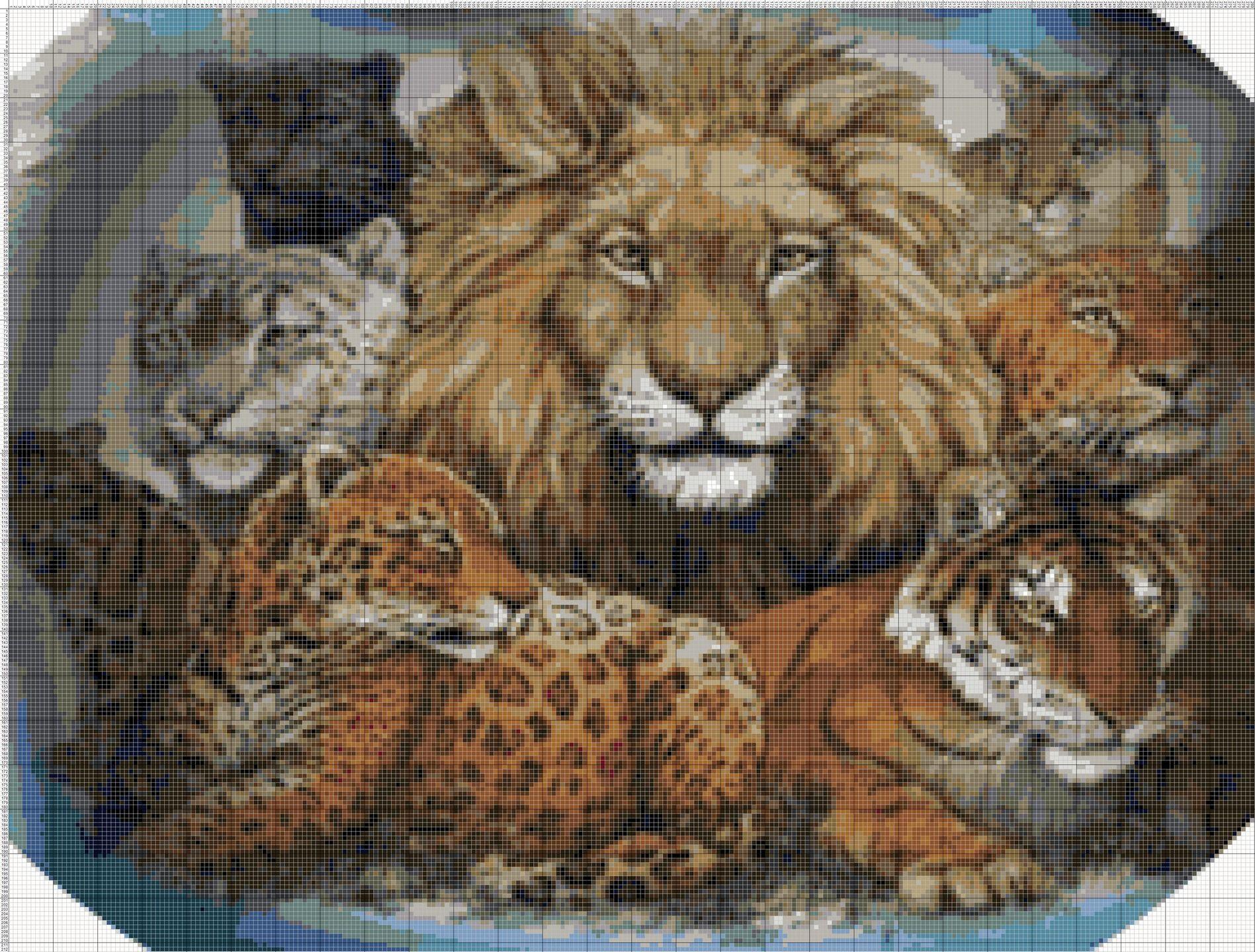 Grille de point de croix animaux reunion de f lins lion - Images tigres gratuites ...