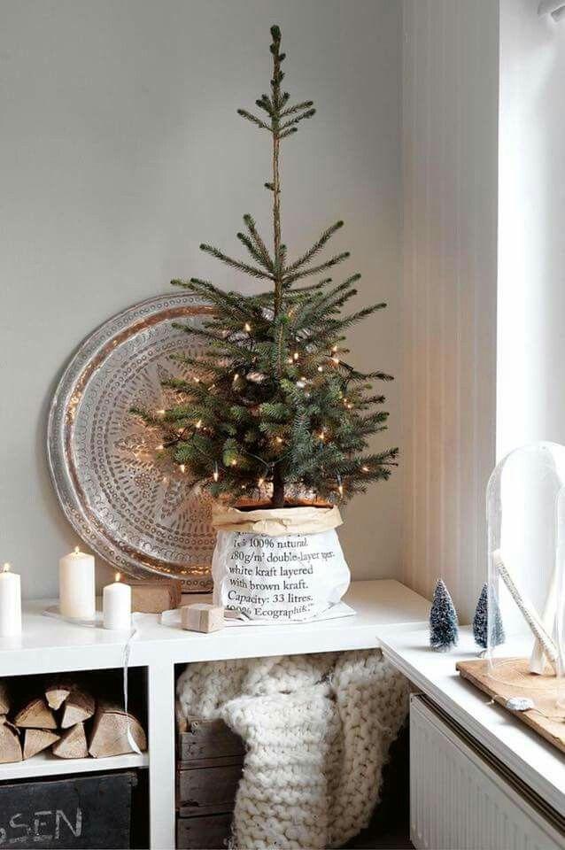 little white Christmas tree in a sack Christmas Pinterest