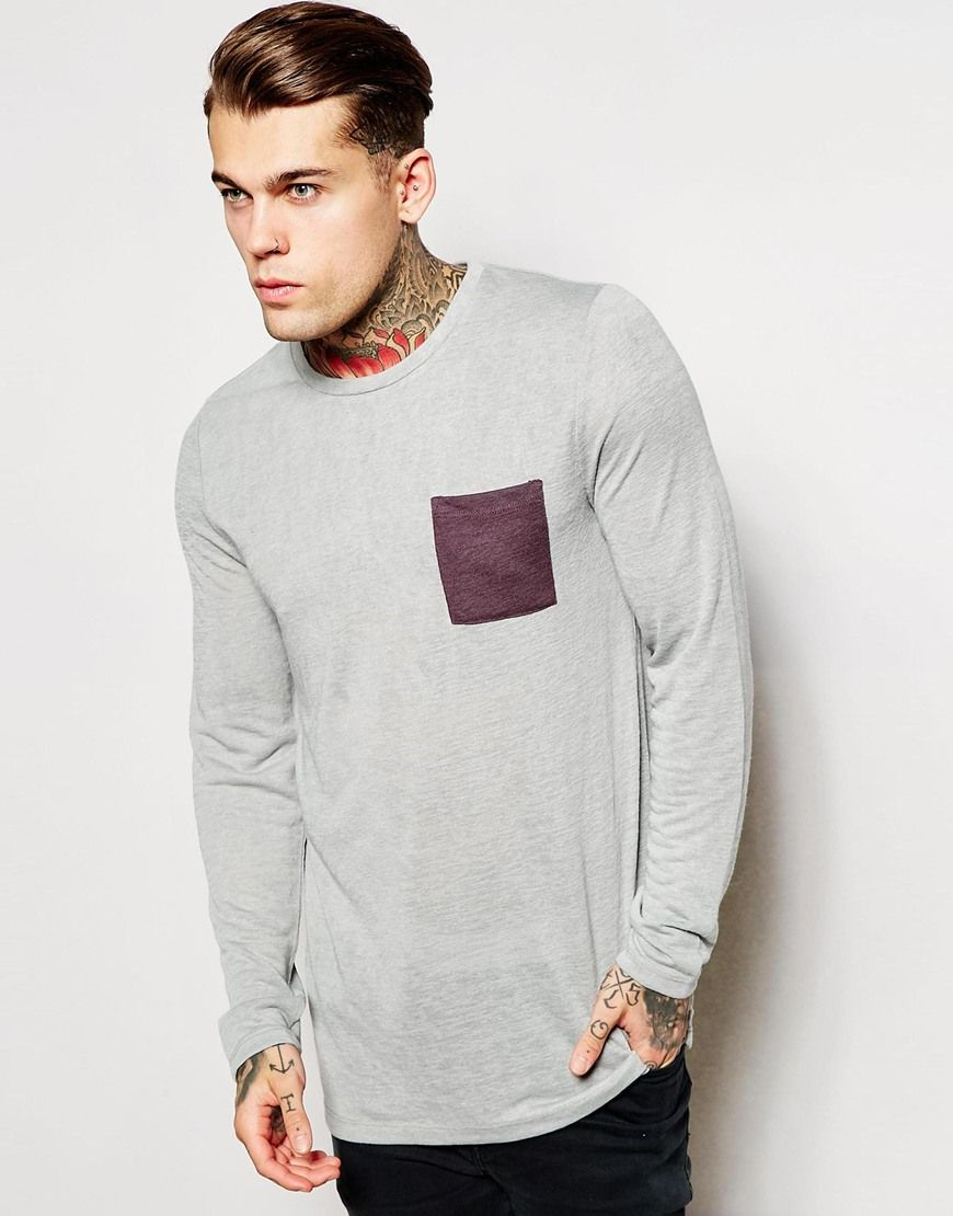 """Longline T-shirt by ASOS Lightweight knit Crew neck Contrast pocket Longline cut Cut longer than standard length Machine wash 100% Cotton Our model wears a size Medium and is 185.5cm/6'1"""" tall"""