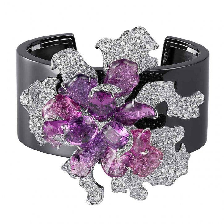 Bracelet from the Sortilège collection in white gold, pink and purple sapphires, brilliant-cut diamonds by Cartier