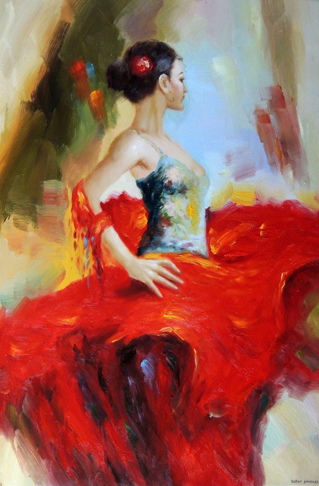 flaminco dancer art flamenco dancer spanish gypsy bright red