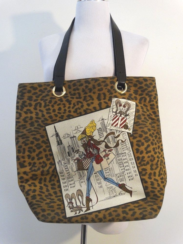 Chico S Handbag Tote Leopard Print Canvas Fabric Illustrated Limited Edition Lg