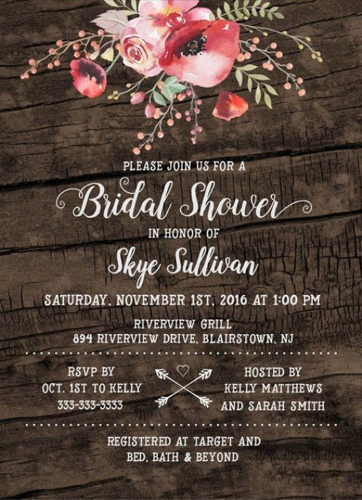 rustic boho floral bridal shower invite