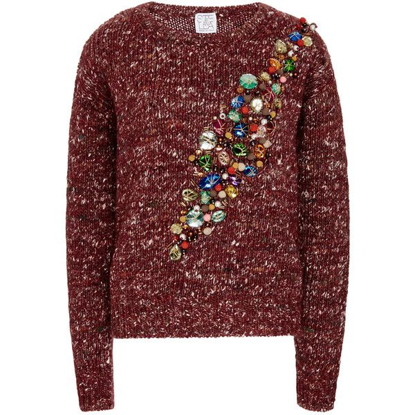 Stella Jean Wool, Alpaca, and Silk Jeweled Sweater (€615) ❤ liked on Polyvore featuring tops, sweaters, red silk top, wool sweater, jeweled tops, embellished tops and alpaca wool sweater