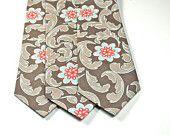 Neckties, Necktie, Mens Neckties, Cotton Necktie, Skinny Necktie, Brown and Coral Neckties, Men, Wedding Neckties