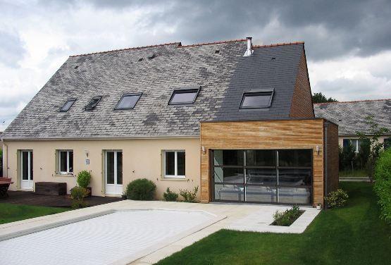 Jardin piscine extension bois toit ardoise nantes serres pinterest extensions and house