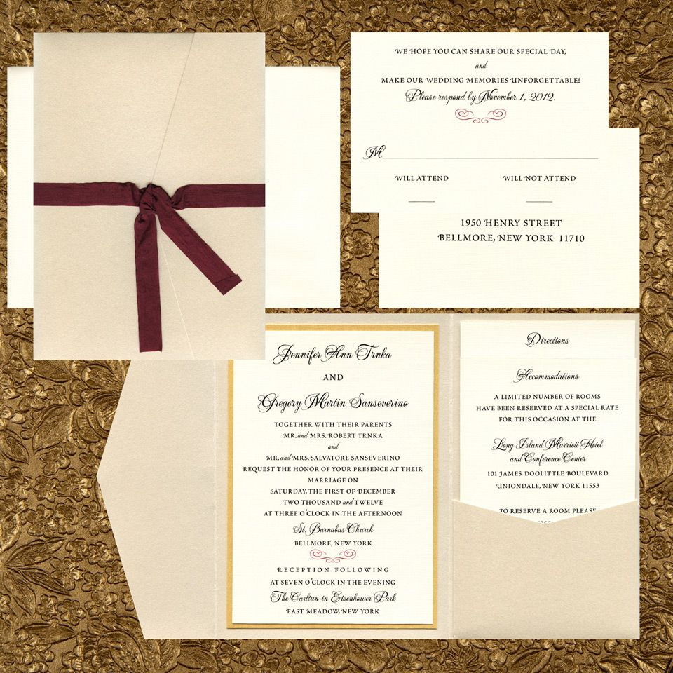 opal metallic pocket invitation closed with wine red satin ribbon ...