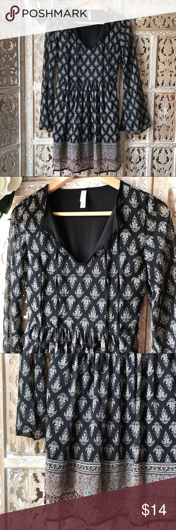 """[Xhilaration] printed dress size XS [Xhilaration] dress size XS. Across chest about 16 1/2"""". Dress length about 33"""". Very good condition. Worn once . Dress is lined. You can wear ties or untied Xhilaration Dresses"""