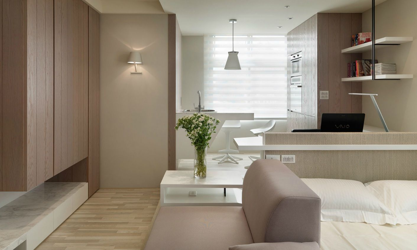 Small Living Super Streamlined Studio Apartment Small Spaces