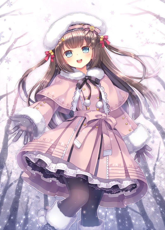 Playing In The Snow Original Anime Kawaii Menina Anime