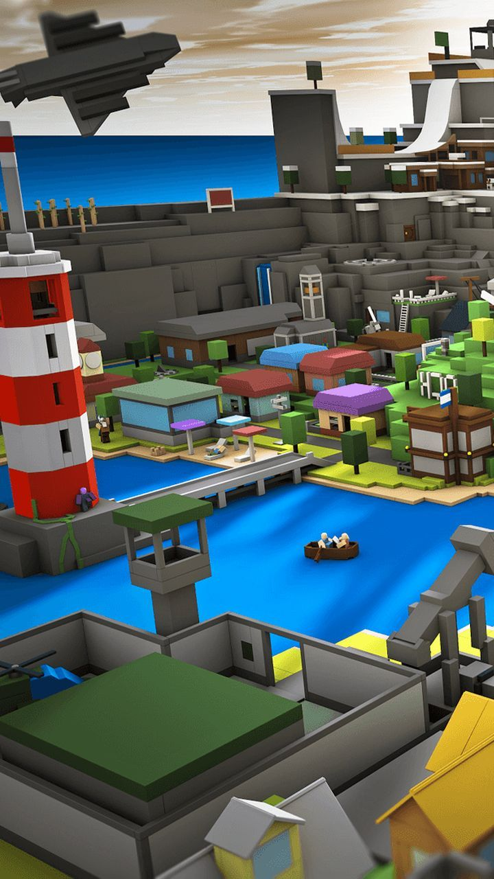 A city view from Roblox Game, colorful bloxburg city